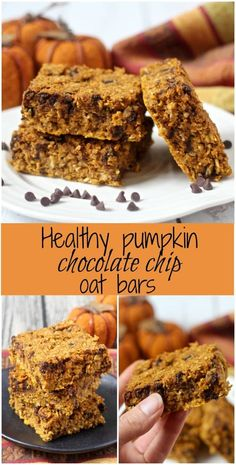 Healthy pumpkin chocolate chip oat bars are an easy one-bowl recipe that make a great afternoon snack or dessert! (Gluten-free and vegan options available. Healthy Afternoon Snacks, Healthy Sweets, Healthy Baking, Healthy Snacks, Dinner Healthy, Chocolate Chip Bars, Pumpkin Chocolate Chips, Gourmet Recipes, Dessert Recipes