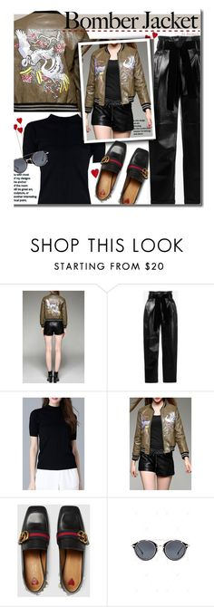 """""""Bomber Jacket"""" by beebeely-look ❤ liked on Polyvore featuring philosophy, Gucci, StreetStyle, gucci, bomberjackets, embroidery and dezzal"""