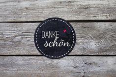 Danke Schön ♥ Tafel 24 Aufkleber 4cm rund Sticker on DaWanda by einfachschön