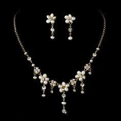 GoldIvory Necklace Earring Bridal Set NE 8263 Gold