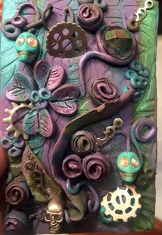 Polymer clay tile Day of the Dead