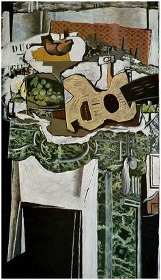 Guitar and Still Life on a Mantelpiece Artist: Georges Braque (French, Argenteuil Paris) Date: 1921 Medium: Oil with sand on canvas Dimensions: 51 × 29 in. Georges Braque, Pablo Picasso, Picasso And Braque, Henri Matisse, Cubist Art, Abstract Art, Alberto Giacometti, Post Impressionism, Painting & Drawing