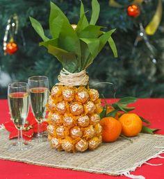 decoração de festa, abacaxi, tropical, centro de mesa