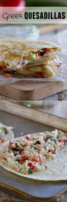 All of your favorite Greek flavors in a cheesy tortilla! These Greek Quesadillas are great for lunch or an easy vegetarian dinner. Easy Vegetarian Dinner, Vegetarian Recipes, Cooking Recipes, Healthy Recipes, Crepes, Quesadillas, Greek Recipes, Mexican Food Recipes, Burritos