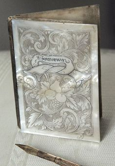 antique French mother of pearl souvenir book.