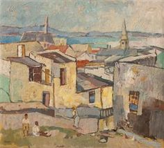 View of Table Bay, Bo-Kaap - Gregoire Boonzaier South Africa Art, South African Artists, Art Database, City Art, Minimalist Art, Old Pictures, Van Gogh, Painting Inspiration, Illustration Art