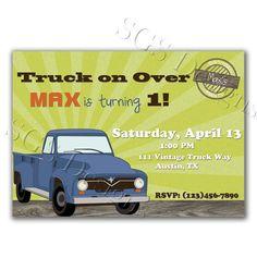 Vintage Truck Birthday Invite by SouthernGypsySoul on Etsy, $12.00