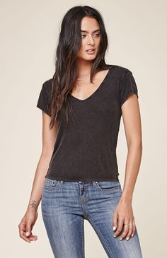 Hooked on Pacific Ribbed V-Neck T-Shirt that I found on the PacSun App