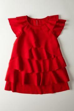 Multi Layer Cascade & Flutter Sleeve Dress