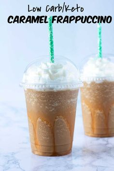 Low Carb Sugar Free Caramel Frappuccino is the perfect solution to wanting a Frappuccino that you love, all the great flavors without all the carbs & sugar! Sugar Free Iced Coffee, Sugar Free Starbucks Drinks, Low Calorie Starbucks Drinks, Sugar Free Drinks, Low Carb Drinks, Diabetic Drinks, Starbucks Recipes, Diet Drinks, Yummy Drinks