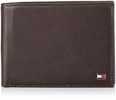 Brieftasche 2-teilig, Leder, Marke TOMMY HILFIGER, einfarbig schwarz, geprägtes Logo, Querformat, 13×9.5×2.5cm, in Kartonbox verpackt. 2 Geldscheinfächer, 1 Münzfach mit Druckknopf, 4 Kreditkartenfächer, 5 Ausweisfächer