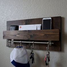 Modern Rustic Entryway Mail Key Organizer is part of Rustic entryway Handmade entryway mail organizer with satin nickel rail hooks Perfect for any home entryway, apartment, or condo Made of solid - Rustic Furniture, Diy Furniture, Furniture Stores, Luxury Furniture, Furniture Market, Furniture Movers, Farmhouse Furniture, Antique Furniture, Office Furniture
