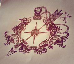 Compass with arrow, tattoo design
