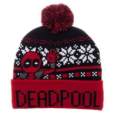 28346a4eea2 Amazon.com - Deadpool Hand Wave Holiday Print Cuff Beanie Cap Hat Licensed  New Marvel