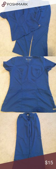Grey's Anatomy Scrub Set Grey's Anatomy scrub set New Royal in color. Top size XS Classic v-neck. Pants size XS petite 5 pocket drawstring flare leg. Pants have one tiny spot that isn't noticeable. Otherwise in great condition. Grey's Anatomy Other