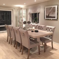 Wohnzimmer – Wohnzimmer – The post Wohnzimmer – Wohnzimmer – appeared first Dining Room Table Decor, Dining Room Sets, Dining Room Design, Dining Room Furniture, Living Room Decor, Dinning Room Ideas, Tufted Dining Chairs, White Dining Table, Luxury Dining Room