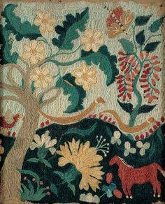 CREWELWORK PICTURE, artist unidentified, c. 1750–1760, wool on linen, 9 x 7 3/8 in., American Folk Art Museum, gift of Ralph Esmerian, 2005.8.52