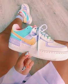 Back to the with these amazing new sneakers from Nike. They come in the original design of the Air Force 1 but then with double layered details. In beautiful pastel rainbow colors. Named Nike Air Force 1 Shadow Pale… Jordan Shoes Girls, Girls Shoes, Shoes Women, Woman Shoes, Cute Sneakers, Sneakers Nike, Jordan Sneakers, Sneakers Urban, Cute Nike Shoes