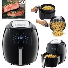 GoWISE USA Electric Air Fryer XL + 50 Recipes for your Air Fryer Book (Black) at Kitchen Appliances Lists Products - gowise usa 5 8 quarts 8 in 1 electric air fryer xl 50 recipes for your air fryer book black Gowise Air Fryer Reviews, Air Fryer Deals, Electric Air Fryer, Best Air Fryers, Kitchen Shop, Kitchen Dining, Kitchen Small, Air Frying, Air Fryer Recipes