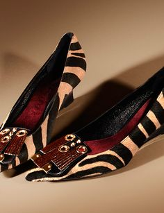 Animal print kitten wedges from the Burberry A/W13 runway collection