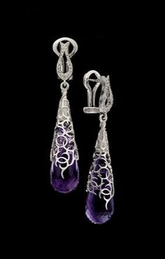 Master Exclusive Jewellery, collection Day and Night, amethyst ear pendants