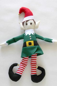 Make your very own Elf on the Shelf with the free, downloadable pattern and tutorial from #WeAllSew! We think this cheery little elf is much cuter than the one who sits on shelves! Prop this adorable Santa's helper next to your sewing machine. If you're lucky, he might even use a little magic to do some stitching while you sleep! Diy Christmas Elves, Christmas Toys, Xmas, Christmas Ideas, Felt Fabric, Handmade Decorations, Diy Toys, Winter Holidays, Elf On The Shelf