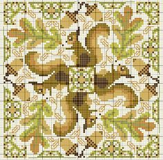 Cross-stitch Squirrel biscornu... no color chart available, just use the pattern chart as your color guide.. or choose your own colors...
