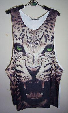 Green-Eye Leopard Shirt Animal Tank Top Men T Shirt White Men Tank Tops Sleeveless Men Shirts Men TShirt Singlet Men T-Shirt Size M on Etsy, $18.99