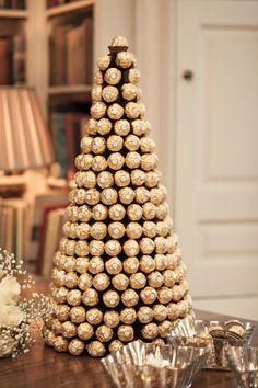Ferrero Rocher Tower Cake Classic Chic Simple Elegant Champagne Wedding Kent http://kerryannduffy.com/