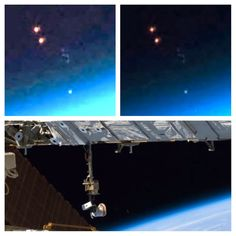 UFOs Seen Near Earths Atmosphere In NASA ISS Photos   These glowing UFOs seem to be following one another into Earths atmosphere. There is a lot of secrecy over the objects that orbit Earth, says Scott C. Waring, author of UFO Sightings Daily.