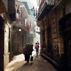 A narrow street in Old Cairo.