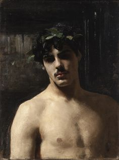 Man Wearing Laurels By John Singer Sargent, Oil on canvas. 1874-1880