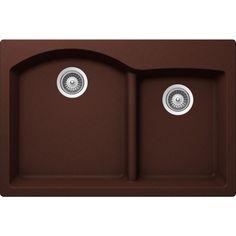 Buy Here: http://thd.co/1K2GQya SCHOCK EDO EDON175T009 Top Mount Composite 33 in. 0-Hole 70/30 Double Bowl Kitchen Sink in Copper #kitchensink #kitchensinks #kitchen #sinks #schock #granitesink