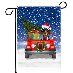 "Dachshund Dog Driving Through Snow Christmas Holidays Flag, for Dog Lovers, Double Side Printed Flag (12"" x 18"") Prin... #Dachshund #Dog Lovers gift #Christmas Gift #Christmas Flag"