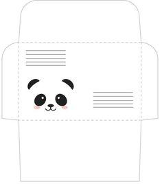 printable envelope for Panda party Envelope Template Printable, Free Printable Stationery, Printable Box, Printables, Cute Envelopes, Paper Envelopes, Pixel Art Geek, Paper Toys, Paper Crafts