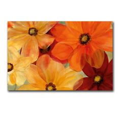 These larger-than-life flowers look great on a wall. This colorful image is printed on canv. Acrylic Art, Acrylic Painting Canvas, Watercolor Paintings, Diy Canvas, Canvas Art, Canvas Prints, Glitter Art, Colorful Flowers, Painting Inspiration