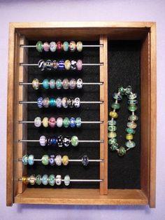 Pandora/Trollbead/Lampwork Glass Top Bead  Box with Chain Storage