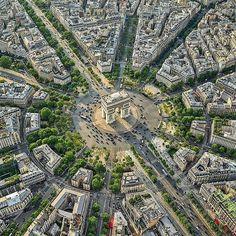 De perfecte symmetrie van de Place de l'Etoile - Parijs Places To Travel, Places To Visit, Special Pictures, Paris Photos, Star Shape, City Photo, Cathedral, Landscape, Beautiful