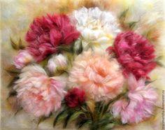 Купить Картина из шерсти Пионы3 - бледно-розовый, пионы, картина для интерьера, Картины и панно