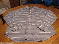 Men's Modern Amusement button up shirt CROW RARE long sleeve L blue fade stripe