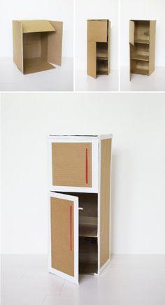 Mer Mag: DIY Play Kitchen - Diy furniture for kids Cardboard Kitchen, Cardboard Play, Diy Cardboard Furniture, Cardboard Dollhouse, Diy Barbie Furniture, Cardboard Box Crafts, Diy Dollhouse, Dollhouse Furniture, Cardboard Organizer
