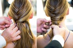braided pony: cross over & pin sections, take remaining hair from all combined sections & cross it over ponytail & wrap it around base; secure it by pinning & placing bobby pin into elastic underneath ponytail African Hairstyles, Up Hairstyles, Braided Hairstyles, Crossover, Motorcycle Hairstyles, Helmet Hair, Twist Ponytail, Ponytail Wrap, Hair Up Or Down
