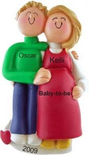 Expecting Couple Blonde/Blonde - Personalized First Christmas Ornament