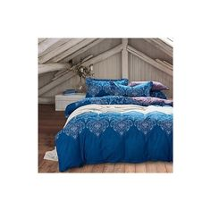 Blue Bohemia Style Bedding Sets Queen Size Cotton Home Textile ($58) ❤ liked on Polyvore featuring home, bed & bath, bedding, duvet covers, pattern, cotton bedding sets, queen bedding, queen bed linens, blue bedding sets and queen bedding ensembles