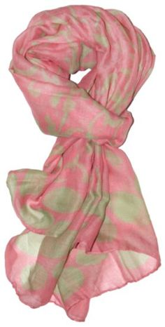 Pink and green vine print scarf