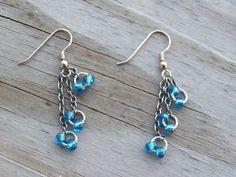 Blue Beaded Dangle Earrings by Sapphire107 on Etsy, $9.00