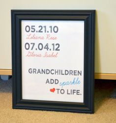 Cute Christmas gift for parents or grandparents!  Grandchildren add sparkle to life!