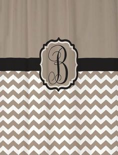 Shower Curtain Chevron YOU CHOOSE COLORS 70, 78, 84, 90 or 94 inch Standard or Extra Long Custom Monogram Personalized for Your Bathroom