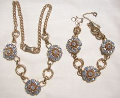 wonderful selection available in my Ruby lane shop. For vintage to now visit my Ruby Plaza shop 10% off store wide memorial day sale on now till 5/28 at midnight. each shop links found on home pages.Stunning baby Blue Topaz Rhinestone Barclay Set Link Necklace and Bracelet Excellent Condition