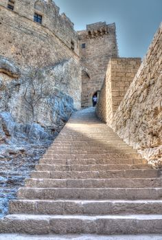 Lindos Castle, Rhodes, Greece. Rhodes Island was made into their fortified home by the Knights of Saint John, who waged a constant war , mostly at sea against the Turk. After a long siege they were finally forced to leave the island to the Turks on 1st January 1523. Only to set up a similar operation in Malta.
